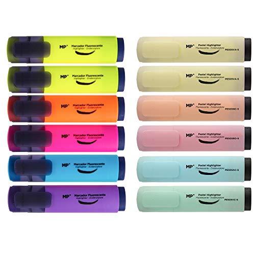 MP - Subrayadores Color Pastel y Fluorescentes, Puntas Biseladas y Muy Duraderos - Estuche 12 Marcadores Multicolor