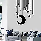 WERWN Star Moon Wall Decals Romantic Bedroom Cool Kids Room Decoration Vinyl Wall Stickers Nursery Mural Art Decals