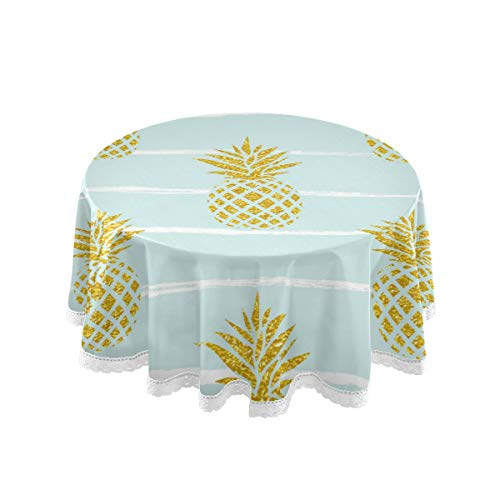 AUUXVA BIGJOKE - Manteles redondos, diseño de acuarela tropical con patrón de piña, poliéster resistente al calor, antiarrugas, mantel de mesa con encaje para el hogar, comedor o fiesta
