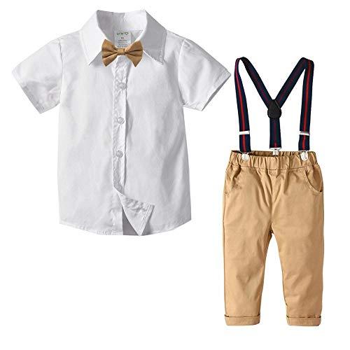 AEPEDC Kleinkindkleidung Sommeroutfits für 1-7 Jahre Jungenkleidung Weißes Kurzarmhemd + Khakihose Anzug Set Kinderkleidung