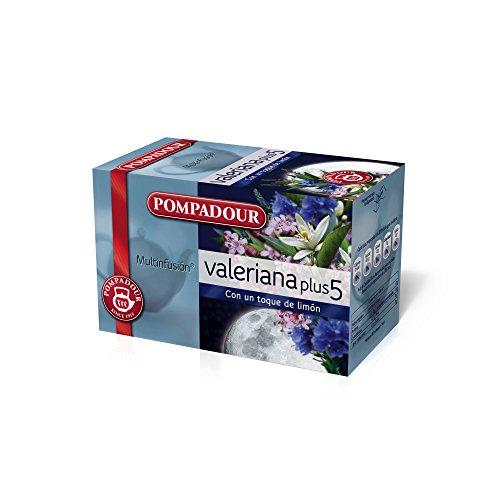 Pompadour - Té de valeriana plus 5 - 20 bolsitas (40 g) - [Pack de 5]
