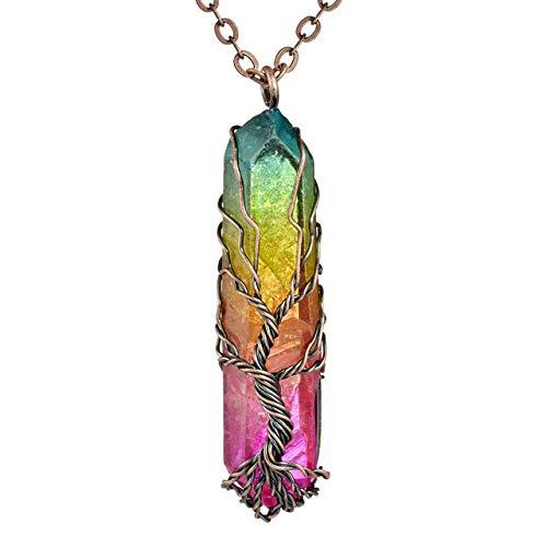 Kristall Anhänger Lange Halskette,Handgefertigt 7 Chakra Natürliche/Regenbogen Stein Baum des Lebens Anhänger Halskette Für Frauen Männer Schmuck Geschenk