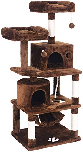 W.KING Kratzbaum Condo Möbel Kitten Aktivität Turm Pet Kitty Spielhaus mit Verkratzen Beiträge Perches Hammock,Braun