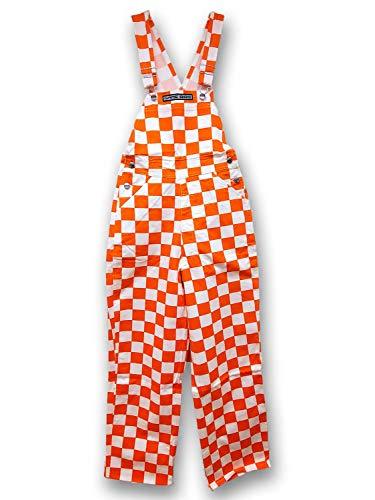 Checkered Orange/White Game Bibs Overalls (Adult Medium)