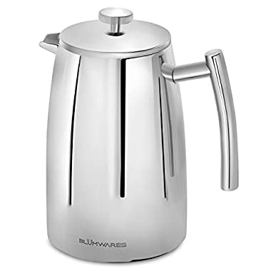 French Press Coffee Maker by Blümwares, Double Wall Stainless Steel Coffee & Tea Makers for a Refined Coffee Taste, Includes a Coffee Filter Screen, 50 oz