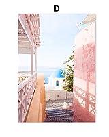 小さな町の通りの風景ポスターと版画壁アートキャンバス絵画北欧ピンクの車の電話ボックス海の写真部屋の装飾フレームなしの40×60