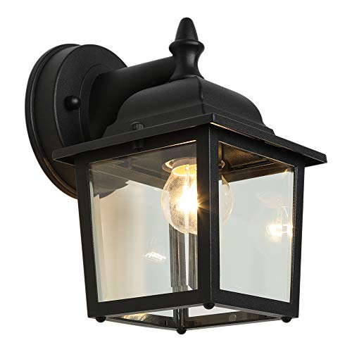 LPINYE Outdoor Wall Light Fixtures Black Exterior Wall Lantern Waterproof Simple Modern Porch Lights Wall Mount with Clear Glass Shade Wall Lamp