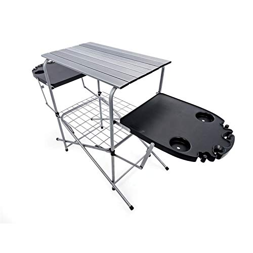 Camco Deluxe Foldable Outdoor Grilling Table with Side Tables & Cup Holders - Excellent for Tailgating, Camping, Parties, The Beach & More! |...