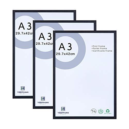 A3 cornici nere per foto Set di 3 - 29.7x42cm cornici in legno massiccio con fronte in plexiglass, quadri/quadro per poster/quadro per certificato A3 per montaggio a parete