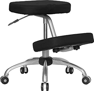Flash Furniture Mobile Ergonomic Kneeling Office Chair with Silver Frame in Black Fabric