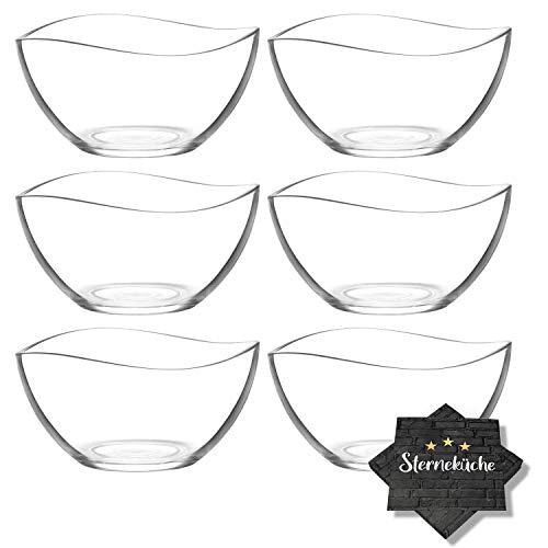 6 Stück Glasschalen im Set + 20 Sterneküche-Servietten, Design Snack Schalen Frühstück oder Party, Vorspeise Glasschale, Dessertschale, Schale aus Glas, 310ml Gläser, Müsli Glasschüsseln Vira