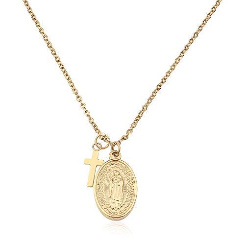 GD GOOD.designs EST. 2015 ® Damen Kette mit Madonna-Anhänger (verstellbar) goldene Maria Halskette Gold goldfarben kettegold Goldkette damenhalskette damenschmuck kreuzektte mariakette
