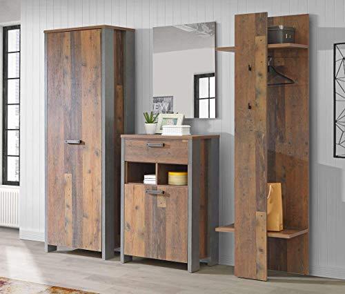 Garderobe Clif 4-TLG. Komplett-Set Optik: Old Wood Vintage von Forte