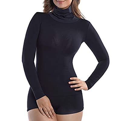 +MD Basic Slim Fit Long Sleeve Turtleneck T-Shirt Thermal Underwear Waist Tummy and Bust Shaper Large Black