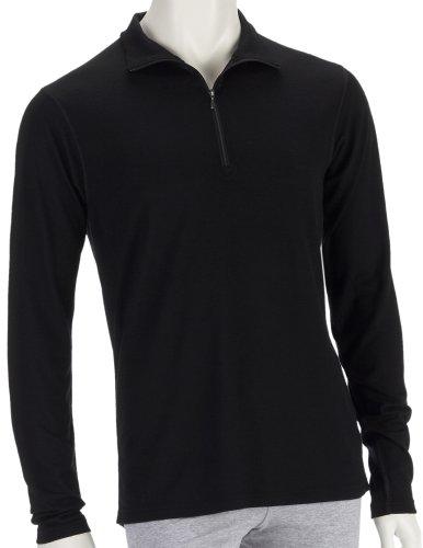 Smartwool Mérinos microweight Zip T-Shirt Fonctionnel à Manches Longues de thé Homme, Noir (Noir) Noir