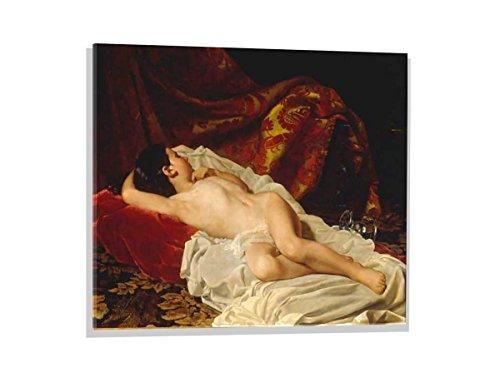 kunst für alle Immagine su Vetro: Giacomo Martinetti Bambina dormiente, Immagine da Parete di Alta qualità, Stampa Artistica Brillante su Vetro Vero, 80x60 cm
