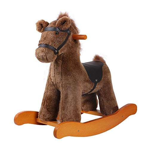 SXNYLY Rocking Horse, Wooden Rocking Horse Kids Ride On Toys Birthday Gift for Boys and Girls Plush Toys Baby Rocking Horse -Baby Rocker Toys Riding Horse for 1-5 Years Old (Color : Brown)