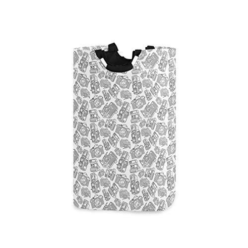 YCHY Wäschekorb,Antike alte Kamera Monochrom Design Fotografie Hobby Technologie Thema,faltbar,tragbar,platzsparend,Aufbewahrungstasche,schmutzige Kleidung für Badezimmer,Kinderzimmer