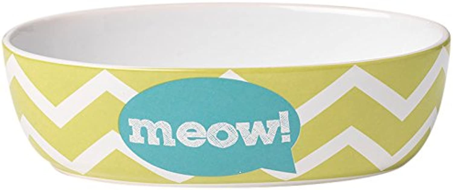 Pet Rageous 2 Cup Zigazaga Oval Meow  Bowl, 6.5 , Lime Green