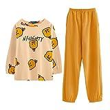 GOSO Pijama para niñas con Estampado de Dibujos Animados y Pantalones Largos para Dormir de 7 a 13 años Amarillo A-Amarillo XX-Large