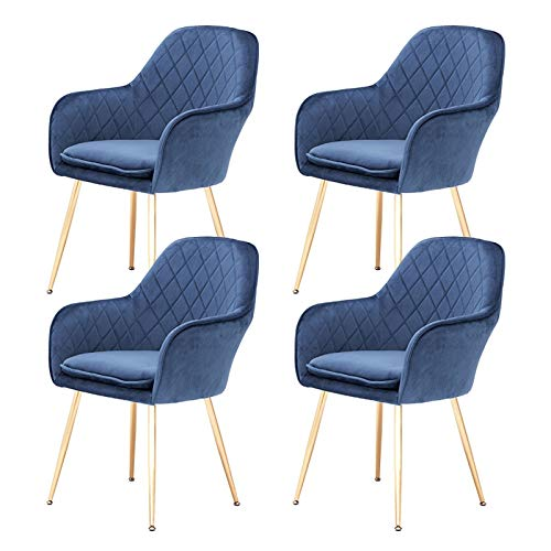 ZYXF Dining Chairs Set Of 4 Mid Century Modern Side Chairs Retro Flannel Fabric Upholstered Dining Chair With Electroplating Golden Chair Feet (Color : Blue)