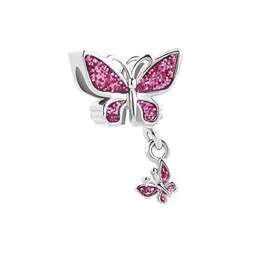 MiniJewelry Pink Butterfly Women Dangling Charm for Bracelets fits Pandora Charms Bracelets October Birthstones Butterflies