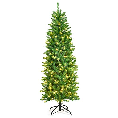 Goplus 6ft Pre-lit Artificial Christmas Tree, Hinged Fir Pencil Christmas Tree with Lights, Perfect Xmas Decoration for Indoor and Outdoor