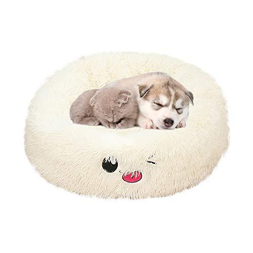 llasm Cama para Perro Camas Perros Baratas Cama Felpa Gatocamas Perros Grandes Lavable para Sensación De Seguridad Dormirse De Forma Segura White,Medium