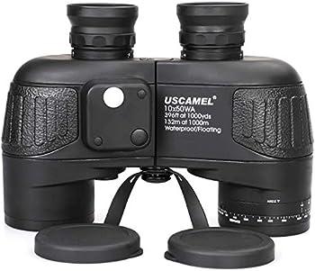 USCAMEL 10x50 Marine Binoculars for Adults Waterproof Binoculars with Rangefinder Compass BAK4 Prism FMC Lens Fogproof for Navigation Birdwatching Hunting