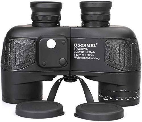 USCAMEL Prismáticos Militar Profesionales 10X50 Militar HD con Alcance, Brújula Multifunción,Apto para Observación de Aves, Caza, Vela(Negro)