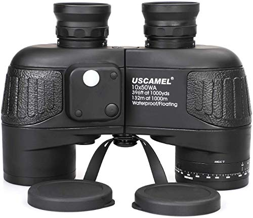 USCAMEL 10x50 Marine Binoculars for Adults, Military Binoculars Waterproof with Rangefinder Compa...