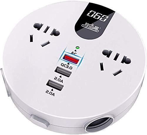 Inversor de potencia de automóvil multifuncional, adaptador de cargador de coche DC 12V / 24V a AC 110V / 220V con 2 salidas de CA, 1 cargador de carga rápida 3.0 y 2 cargador de puertos USB para telé