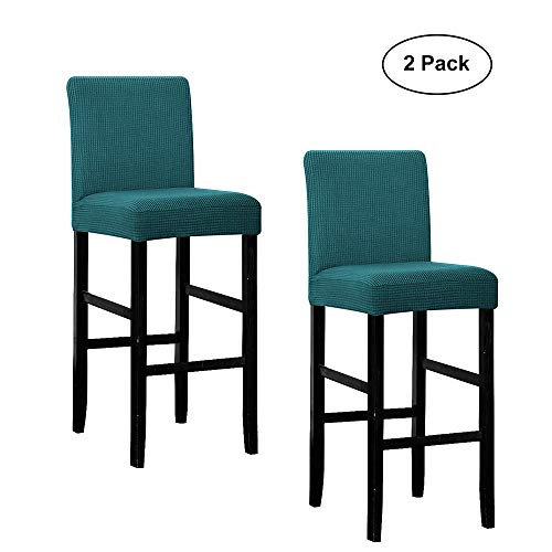 WOMACO Bar Stool Covers, Stretch Counter Height Side Chair Slipcover Protector for Dining Room Kitchen Cafe Furniture Chair (Teal, 2 Pack)