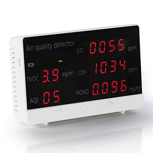Hama Luftqualität Messgerät (CO2 Ampel, Kohlendioxid Detektor zum Messen von Raumluft, Luftqualitätsmonitor für CO2, CO, HCHO, AQI, TVOC) weiß