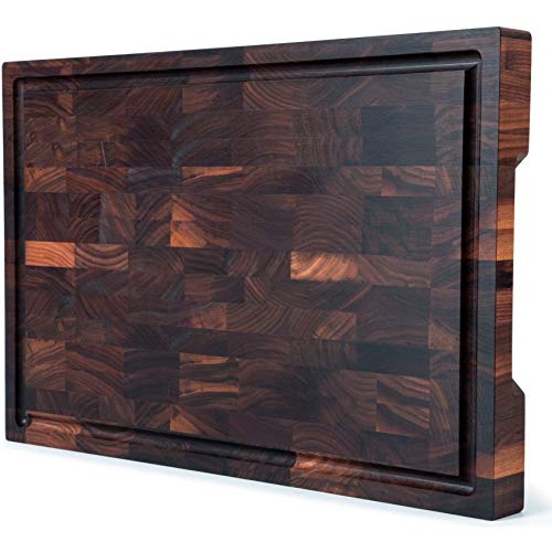 Mevell Walnut End Grain Cutting Board, Canadian Made Large Wood Butcher Block for Kitchen, with Juice Groove, (Walnut, 18x12x1.5)