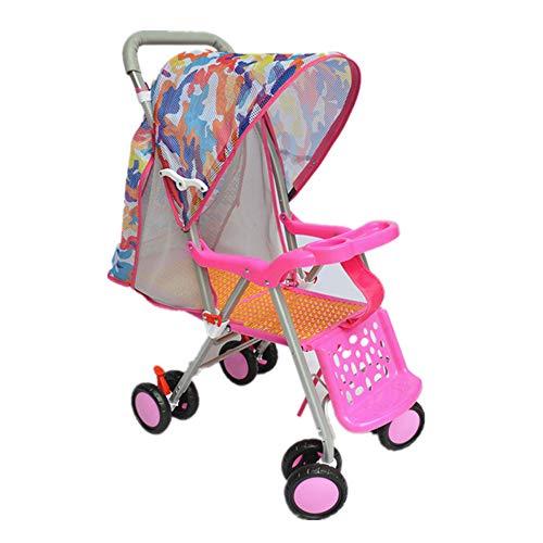 Baby Kinderwagen, klappbarer Rattan Kinderbuggy, Leichter Kompakter Reisebuggy Sitzbuggy, von der Geburt Bis 25 kg, ideal für Flugzeuge,Rosa