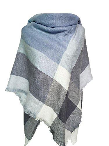 MAKFORT Damen Winter Schal Imitation Kaschmir Bunt Quadratisch Deckenschal 140 * 140cm Blau