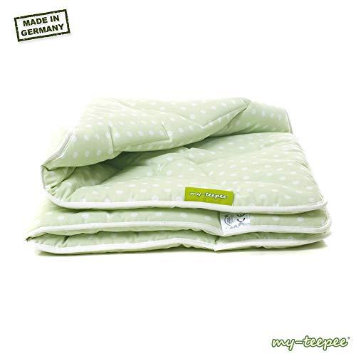 my-teepee Babydecke, Krabbeldecke, Bezug 100 % Baumwolle, ca. 100 x 100 cm, Made in Germany, grün mit weißen Punkten Spieldecke