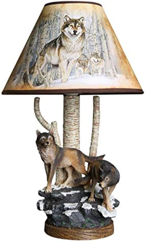 Uncle Sam LI- Tier Wolf Harz Tischlampe Junge Schlafzimmer Nachttischlampe kreative Cartoon Licht