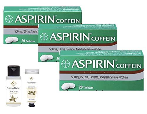 Aspirin Coffein 3 x 20 Tabletten Sparset inkl. einer Handcreme o. Duschbad von Pharma Nature