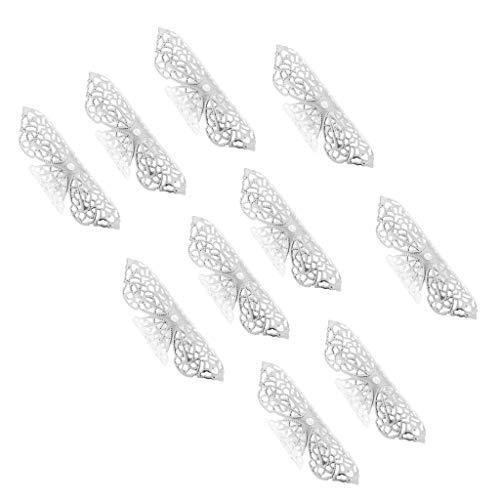 perfeclan Set de 10 Tubes Perles de Cheveux en Métal Tresse Dreadlocks Extensions de Cheveux pour Coiffeur Barbiers - argent