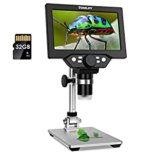 TOMLOV 7″ LCD Digital Microscope 50-1200x Dimmable LED, 1080P Video Microscope with Metal Stand, 12MP Ultra-Precise Focusing Camera for Kids Adults, Windows/Mac Compatible, 32GB SD Card Included