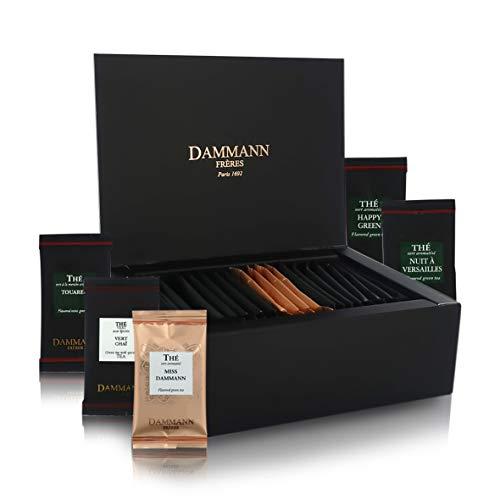 Pasticceria Passerini since 1919 Gift Box for Tasting Dammann Tea ''Quartz'' with 5 Flavored Green Teas, 20 Sachets, Total 40 Grams of Tea, Dammann Frères