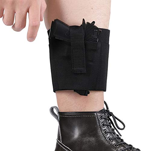 Accmor Ankle Holster for Concealed Carry, Elastic Deep Concealment Leg Holsters with Magazine Pocket/Pouch for Men and Women, Right & Left Hand Draw