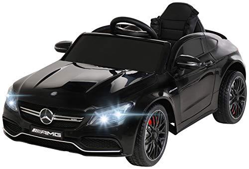 Actionbikes Motors Spielzeug Elektroauto Mercedes Benz C63 - Lizenziert - Ledersitz - Rc Fernbedienung - Elektro Auto für Kinder ab 3 Jahre - Kinderauto (Schwarz)