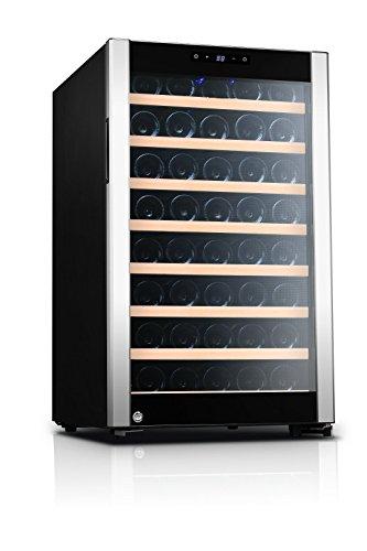 Kalamera Réfrigérateur à vin avec un Zone de temperature 5-18 °C, capacité 120 litres pour 52 bouteilles, Écran LED, Cadre en acier inoxydable, serrure de sécurité.