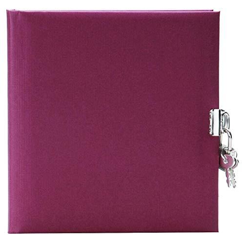 Goldbuch 44048 - Tagebuch, Seda, 96 weiße Seiten, 16,5 x 16,5 cm, Schloss mit 2 Schlüsseln, Kunstdruck gerippt, brombeere