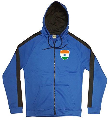 Indien Jacke Sweater Royal GO India Trikot Look Zip Nation Fussball Sport (S)