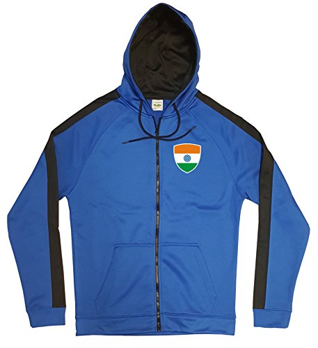 Indien Jacke Sweater Royal GO India Trikot Look Zip Nation Fussball Sport (S)