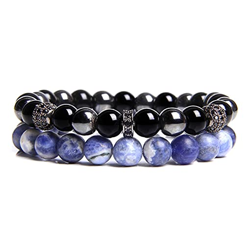 2 Pieces Couples Bracelets Men Fashion Trend Hot Selling Natural Botswana Agat Bracelet For Women Onyx CZ Charm Bangle Jewelry